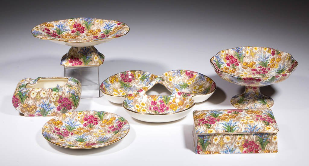 ENGLISH WINTON CHINTZ CERAMIC ARTICLES, LOT OF SIX