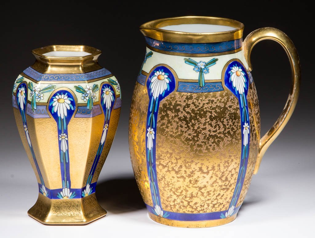 AMERICAN PICKARD GOLD-DECORATED CERAMIC PITCHER AND