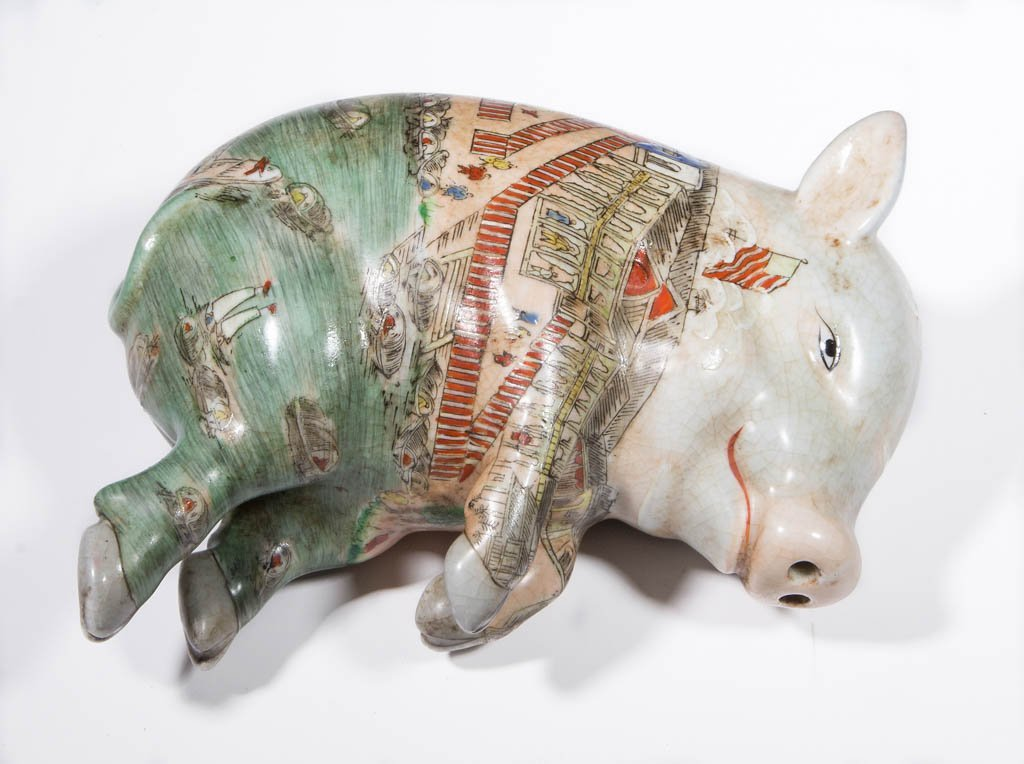 CHINESE PORCELAIN CERAMIC LUCKY SLEEPING PIG
