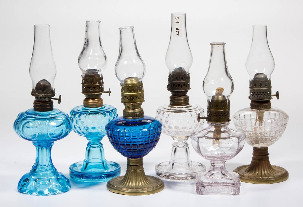 ASSORTED PATTERN MINIATURE LAMPS, LOT OF SIX