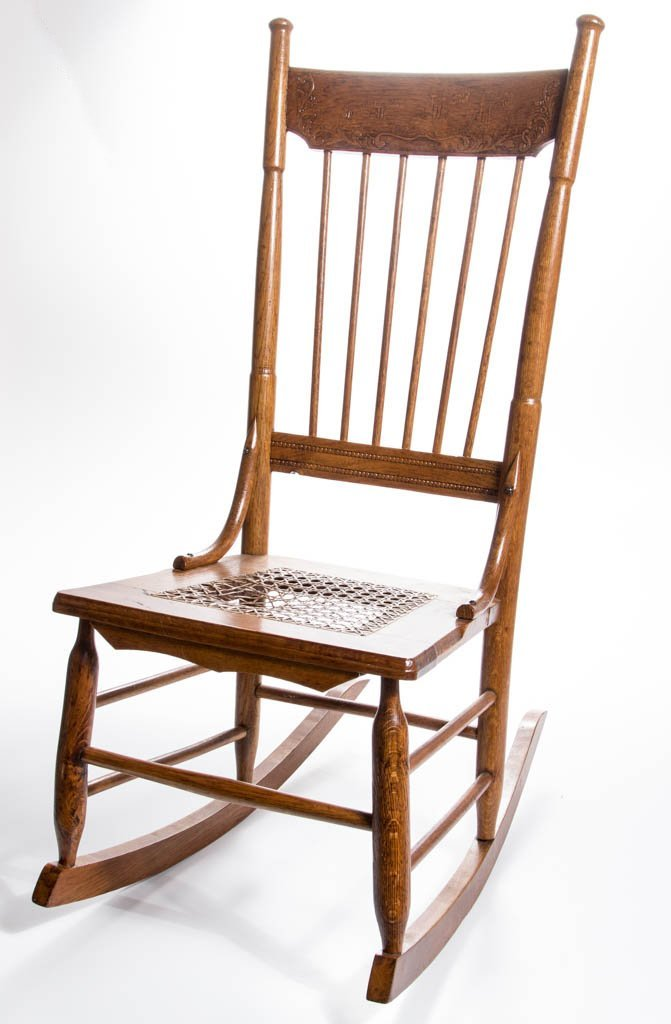 SPANISH-AMERICAN WAR-RELATED OAK ROCKER