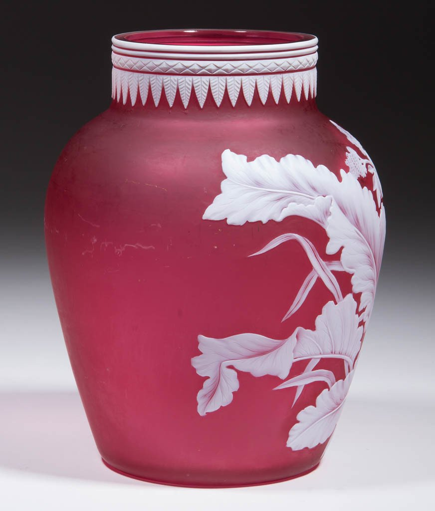STEVENS AND WILLIAMS CAMEO GLASS VASE - 4