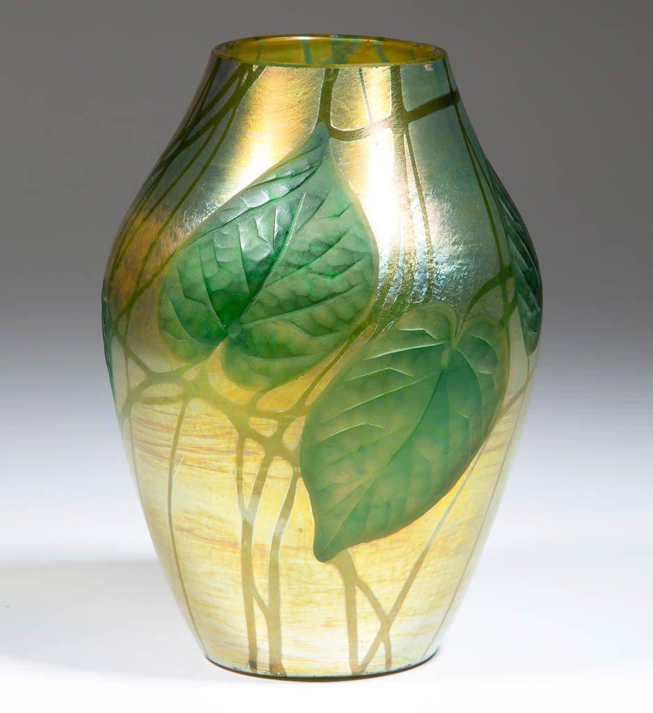 TIFFANY FAVRILE CARVED GLASS VASE