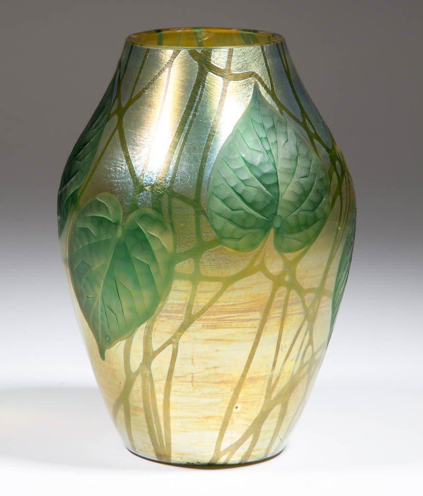 TIFFANY FAVRILE CARVED GLASS VASE - 2