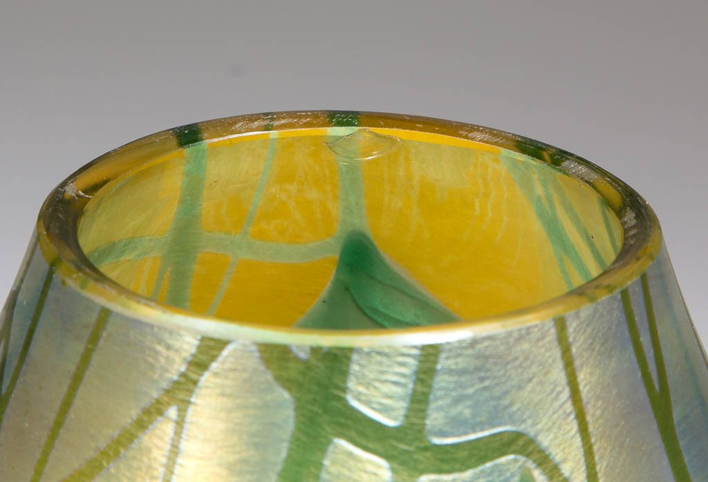 TIFFANY FAVRILE CARVED GLASS VASE - 3