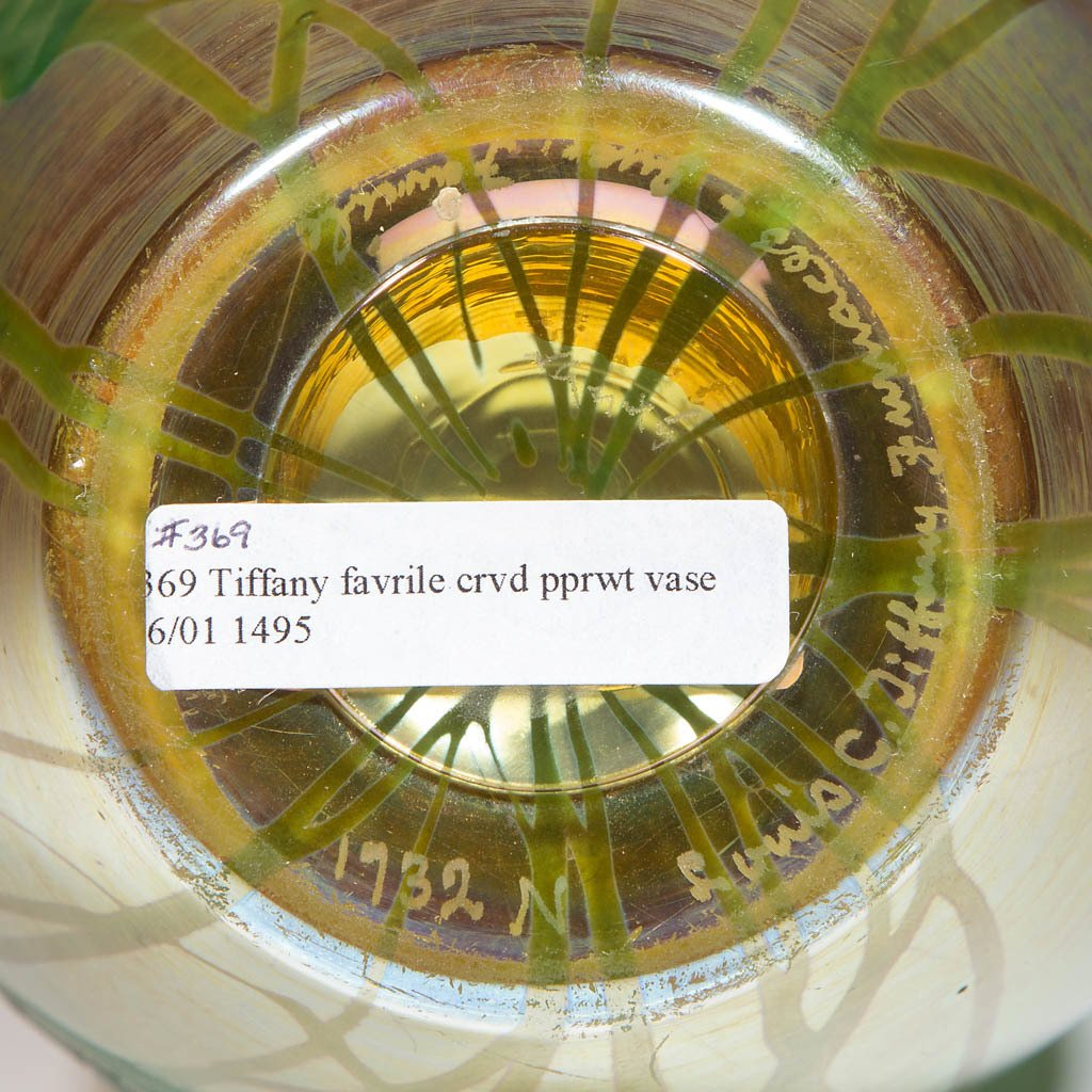 TIFFANY FAVRILE CARVED GLASS VASE - 4