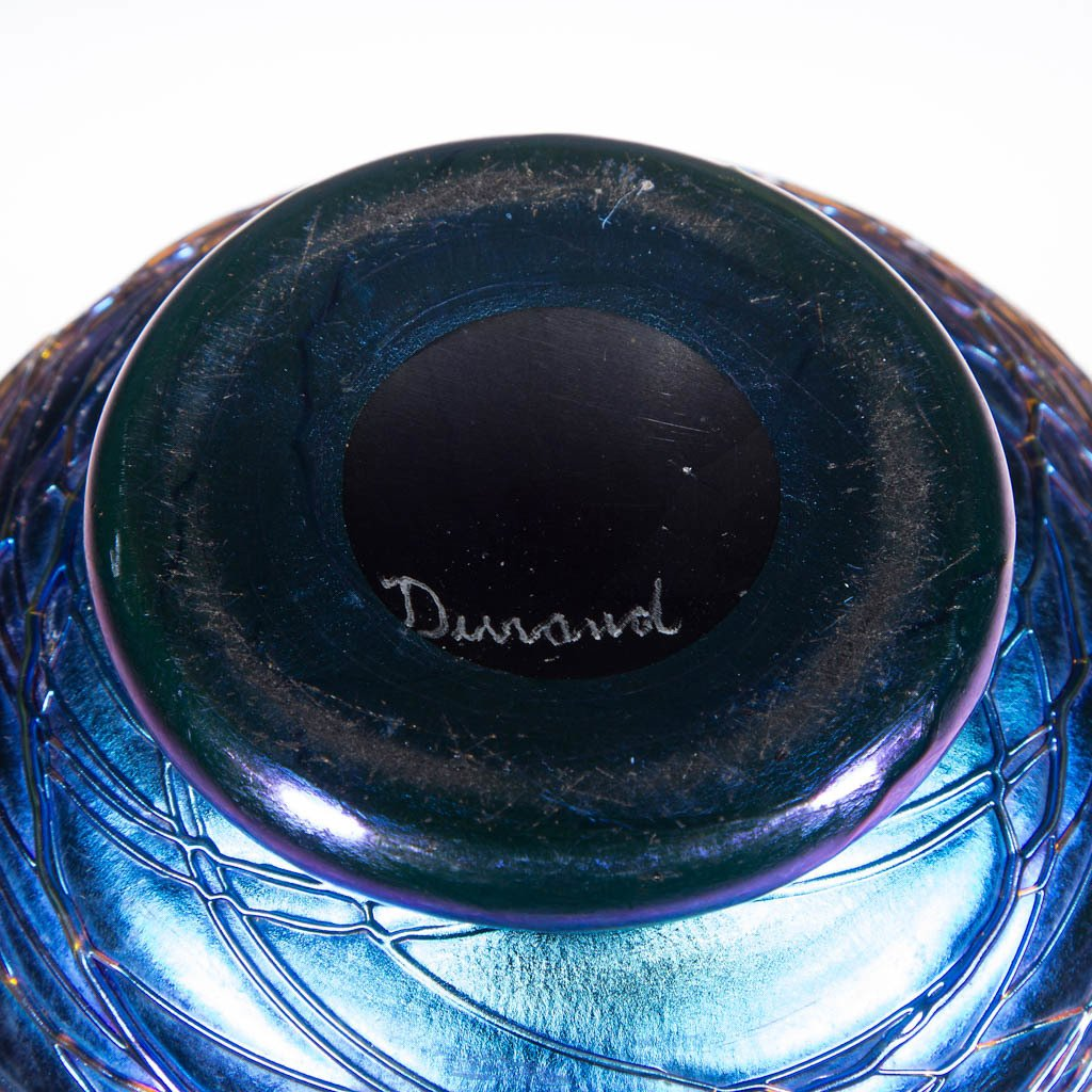 DURAND BLUE IRIDESCENT ART GLASS FOOTED VASE - 2