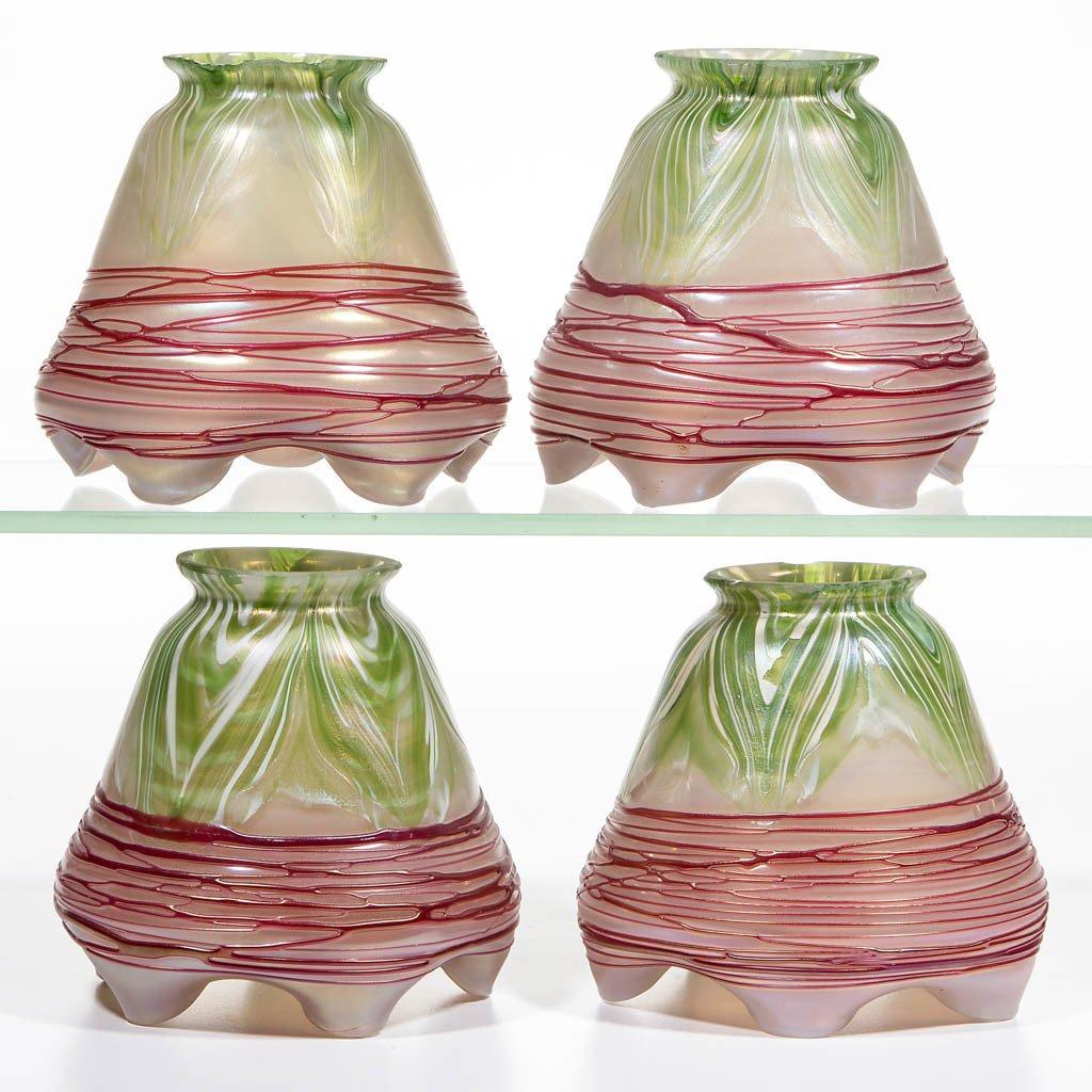 PALLME-KONIG ATTRIBUTED ART GLASS LAMP SHADES, LOT OF