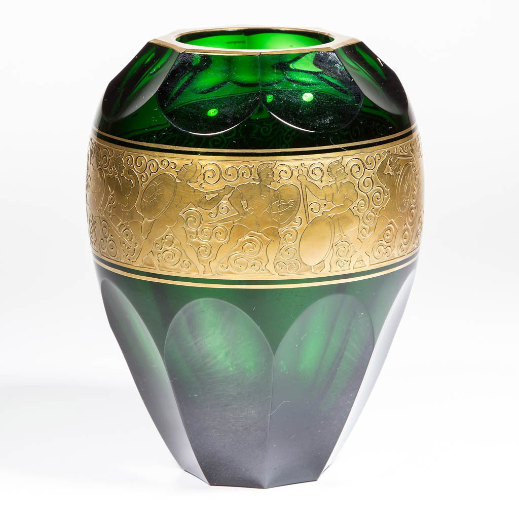BOHEMIAN CUT AND ETCHED VASE