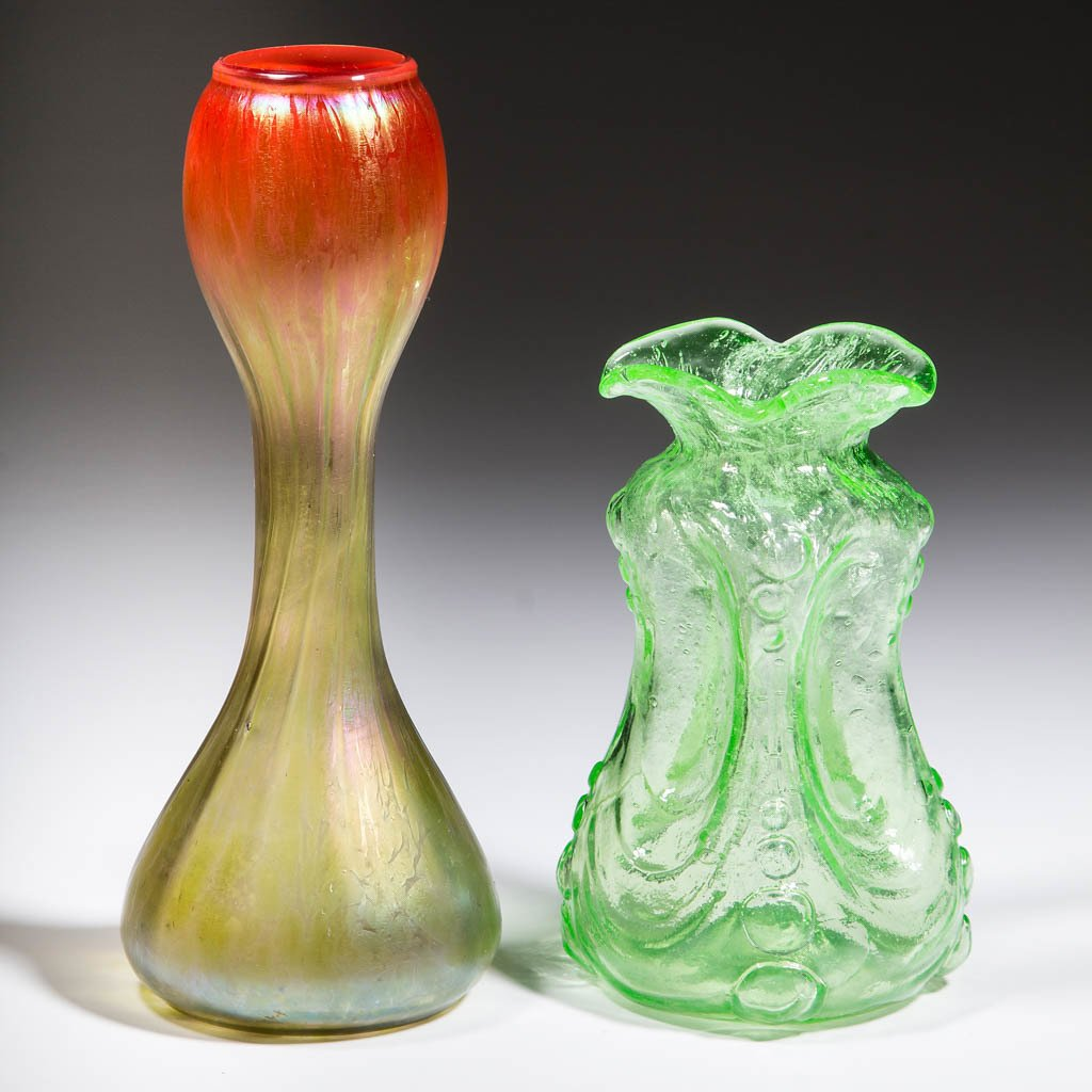 ASSORTED ART GLASS VASES, LOT OF TWO