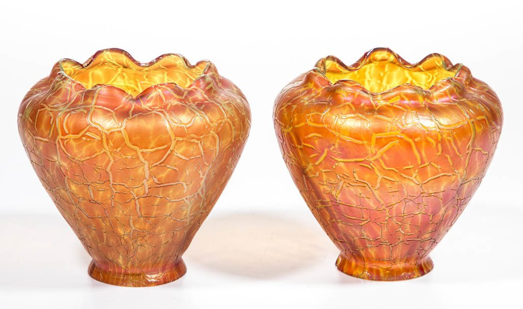 BOHEMIAN CRACKLE GLASS LAMP SHADES, LOT OF TWO