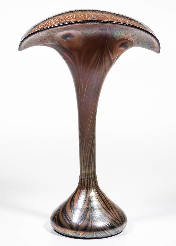 STUDIO ART GLASS PEACOCK FEATHER VASE