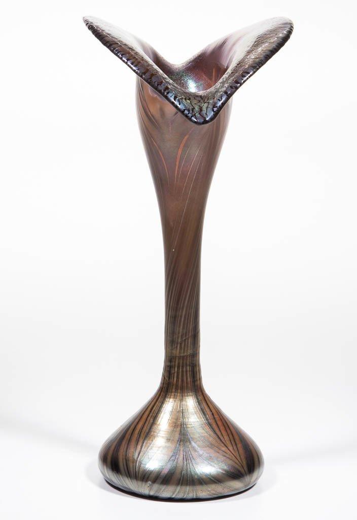 STUDIO ART GLASS PEACOCK FEATHER VASE - 2