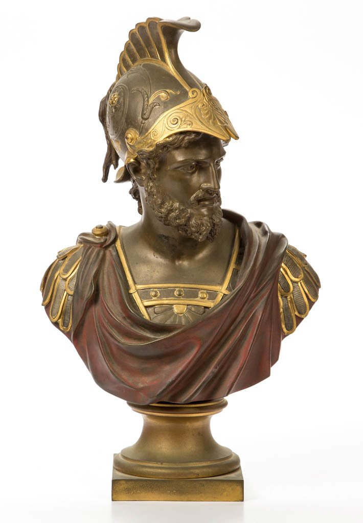 CONTINENTAL BRONZE BUST OF A ROMAN SOLDIER