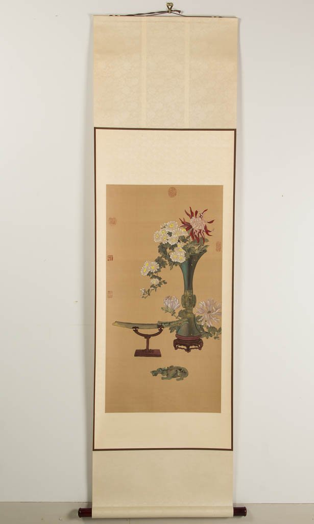 CHINESE PAINTED SILK HANGING SCROLL