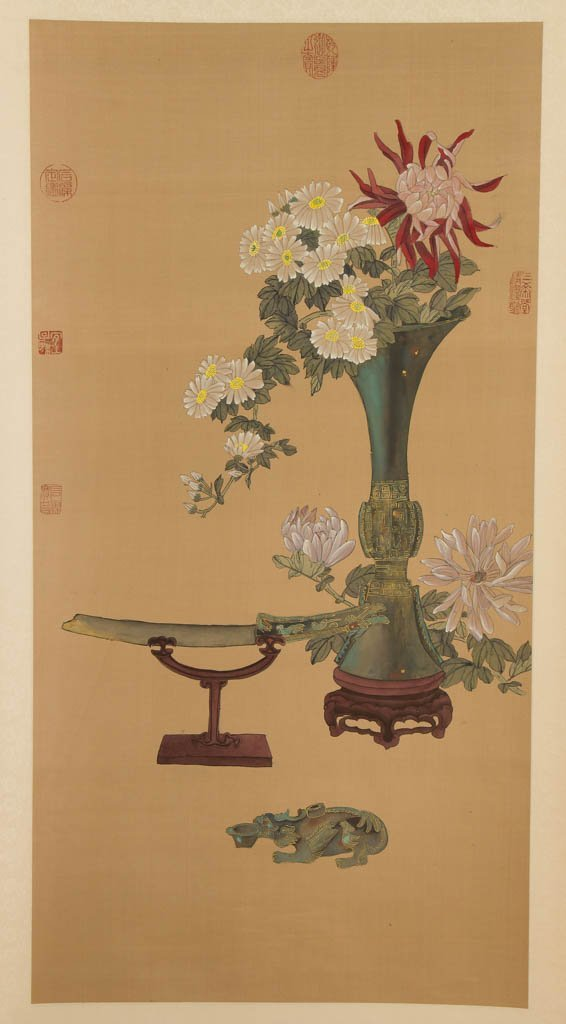 CHINESE PAINTED SILK HANGING SCROLL - 2
