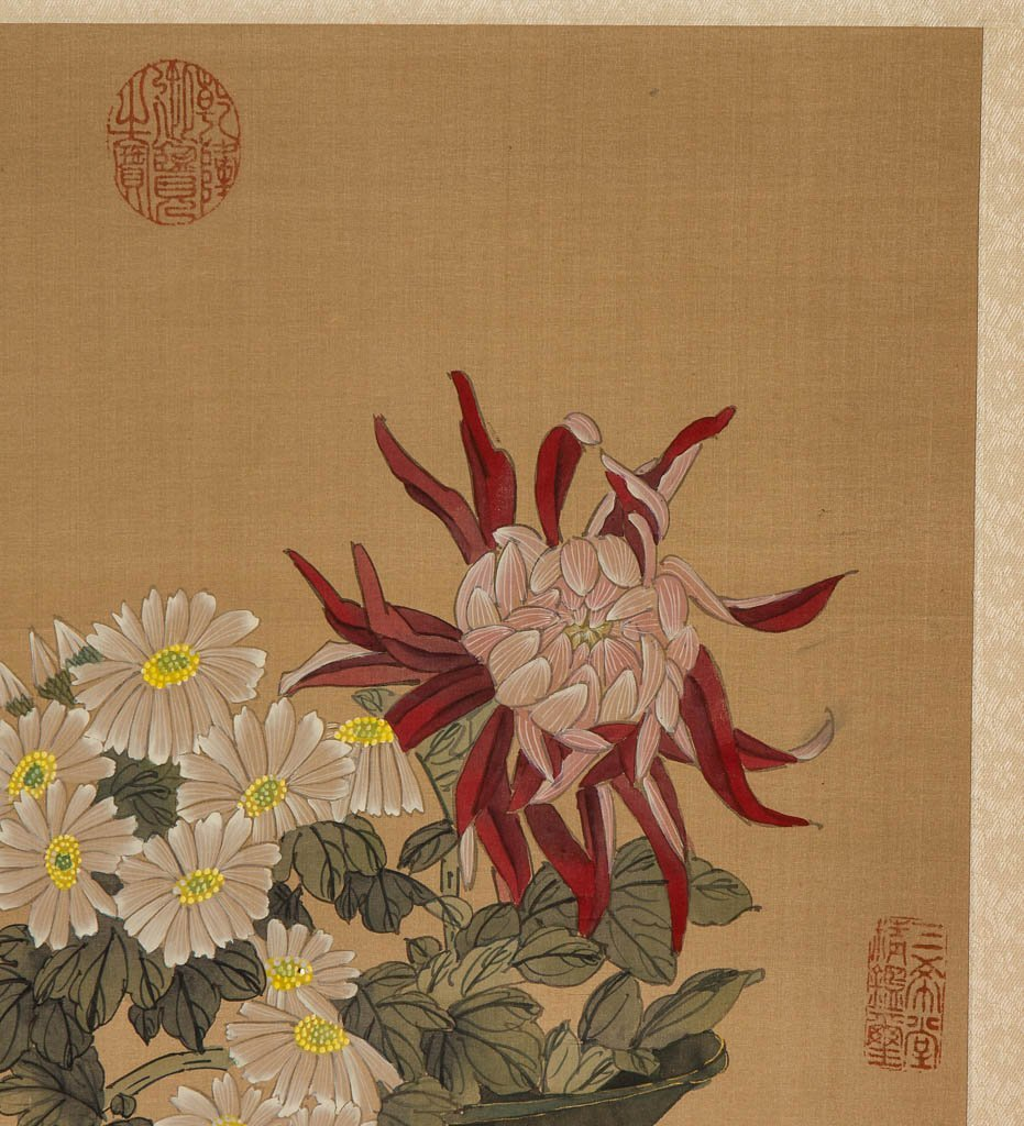 CHINESE PAINTED SILK HANGING SCROLL - 3