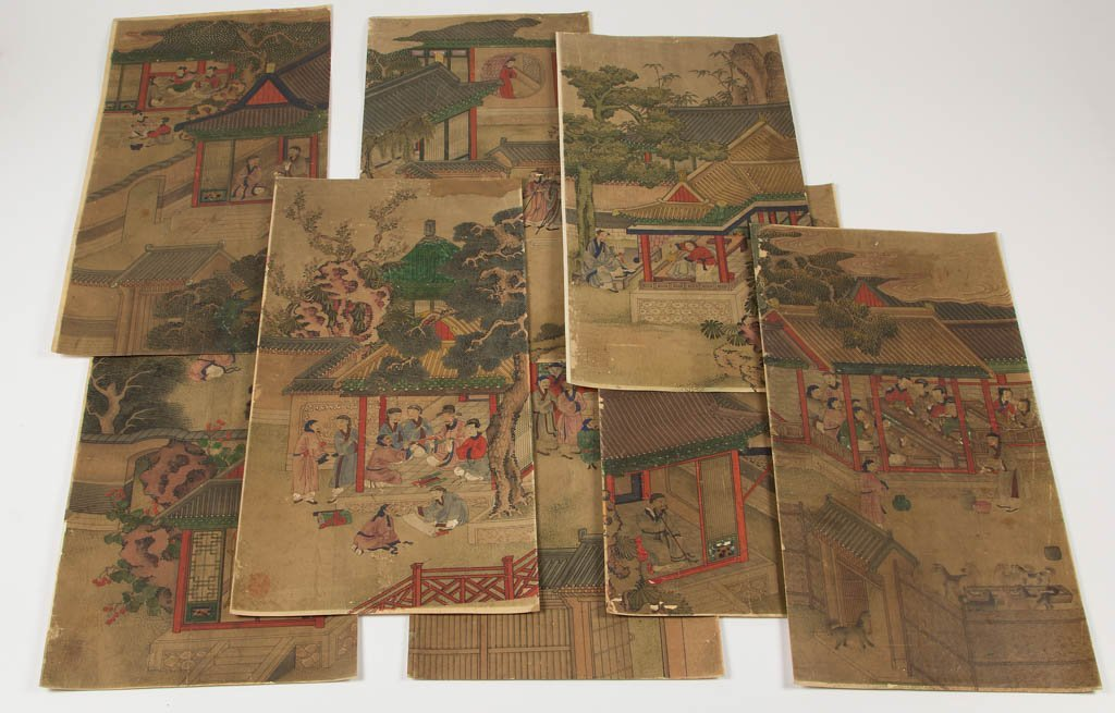 CHINESE WATERCOLOR ON PAPER SCENIC PANELS, LOT OF EIGHT