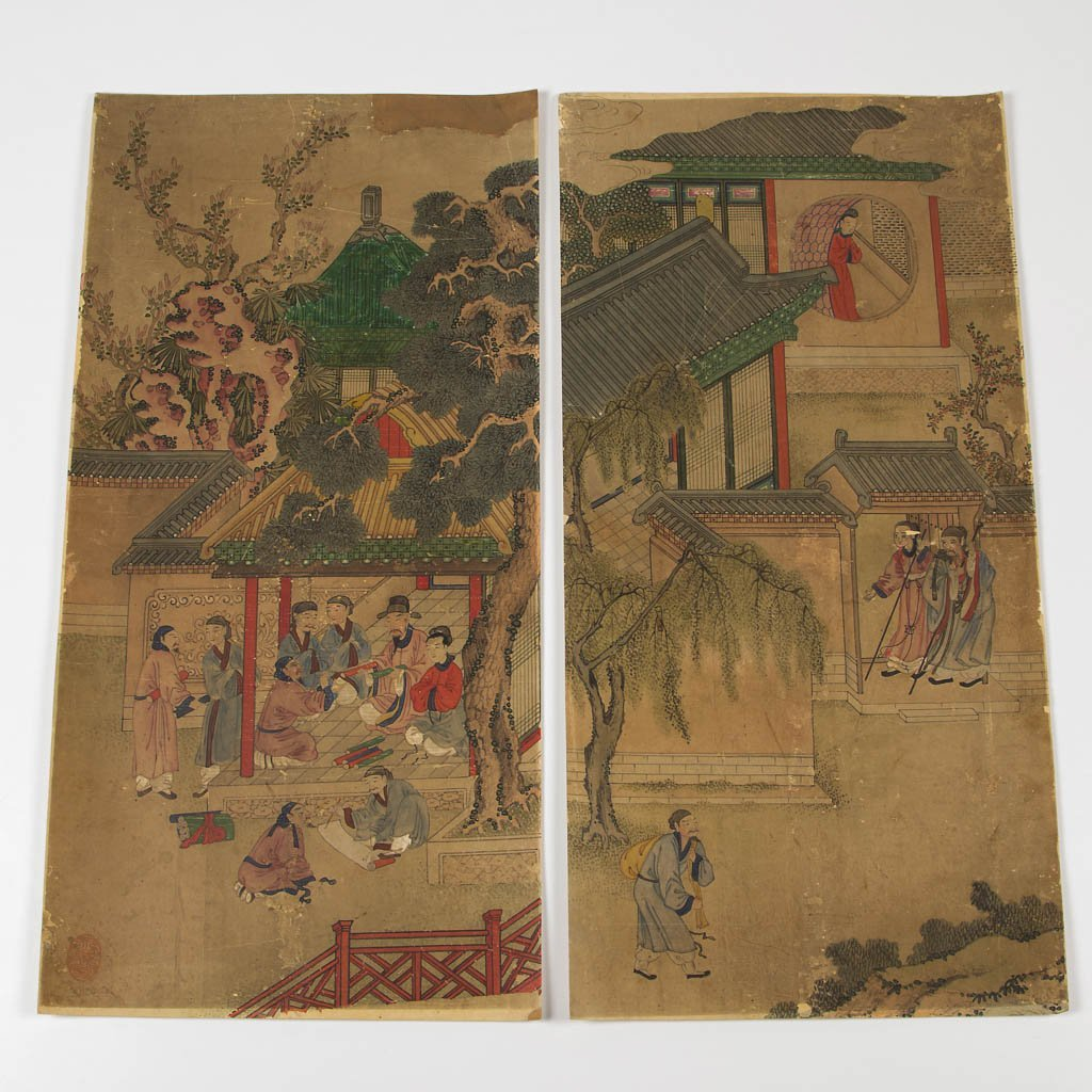 CHINESE WATERCOLOR ON PAPER SCENIC PANELS, LOT OF EIGHT - 2