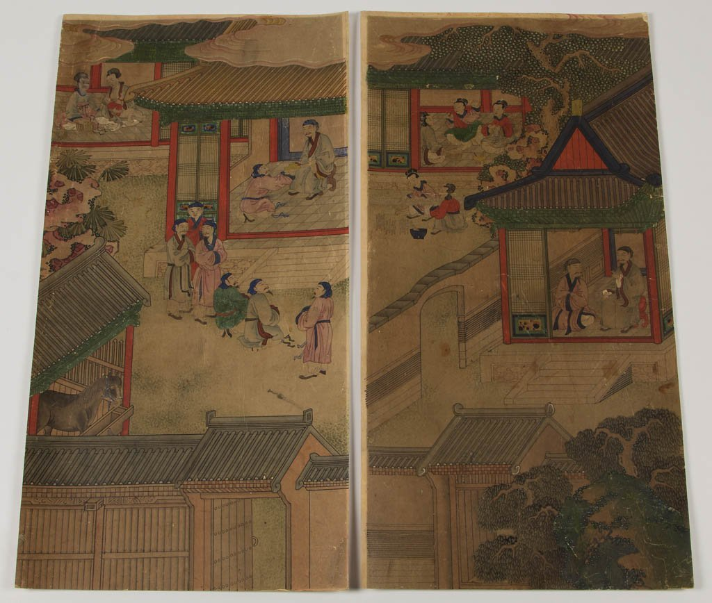 CHINESE WATERCOLOR ON PAPER SCENIC PANELS, LOT OF EIGHT - 4