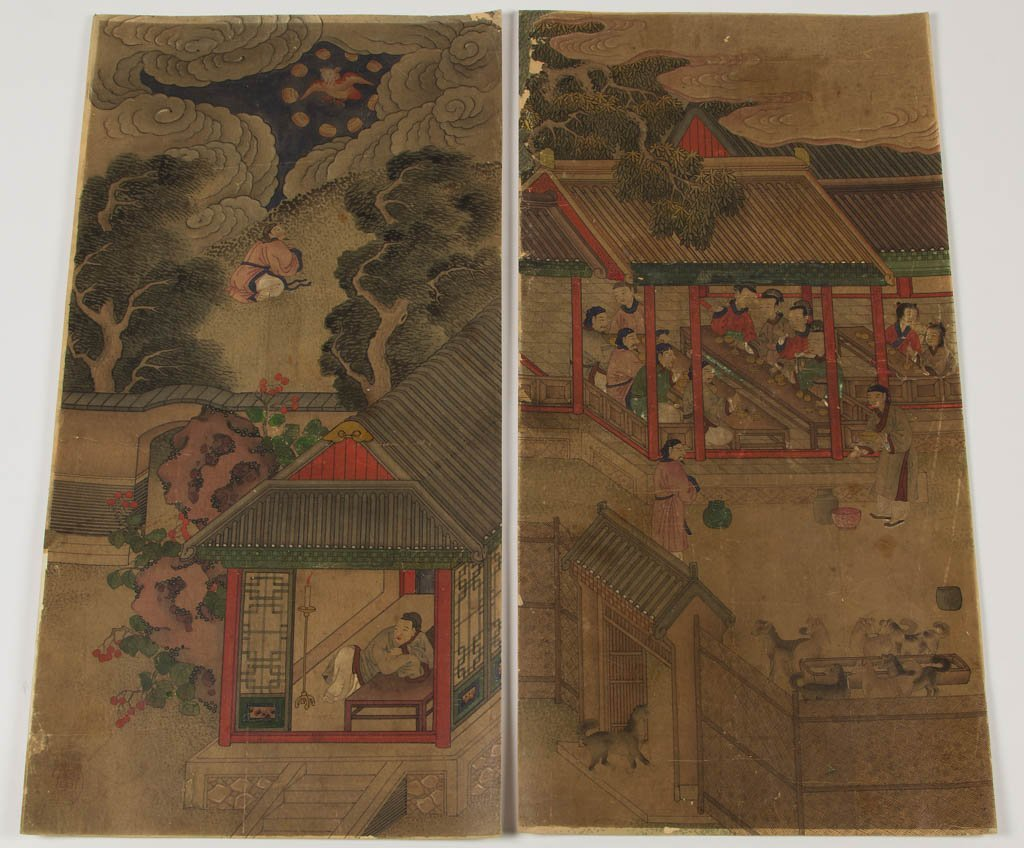 CHINESE WATERCOLOR ON PAPER SCENIC PANELS, LOT OF EIGHT - 5