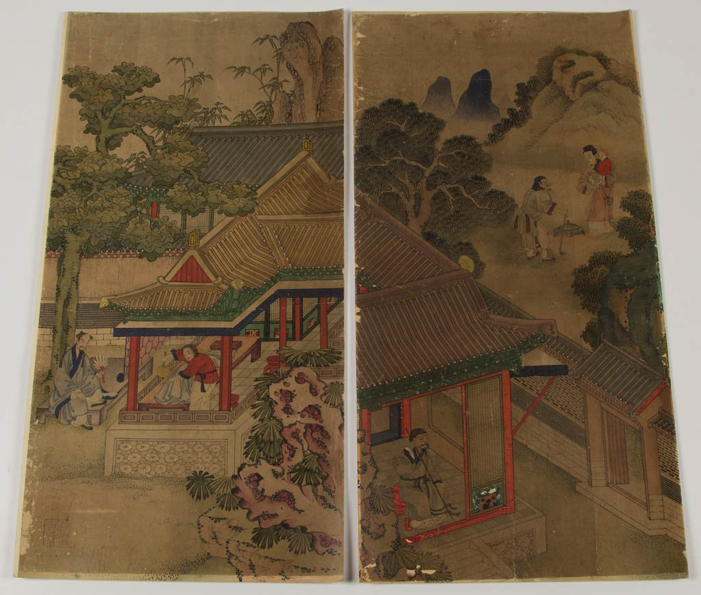 CHINESE WATERCOLOR ON PAPER SCENIC PANELS, LOT OF EIGHT - 7