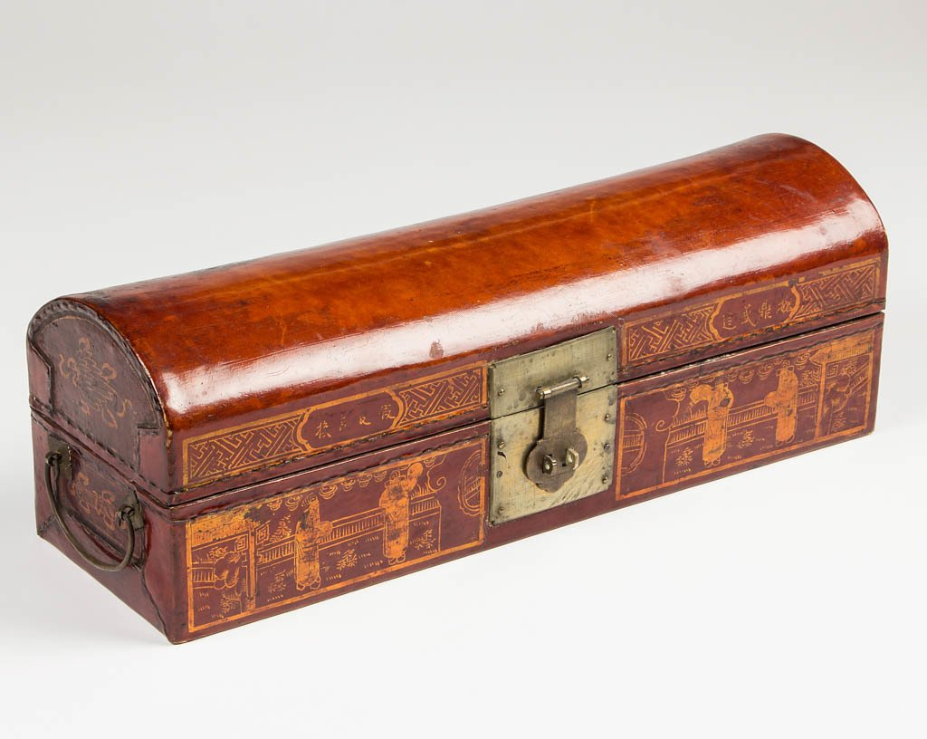CHINESE LACQUER SCROLL BOX