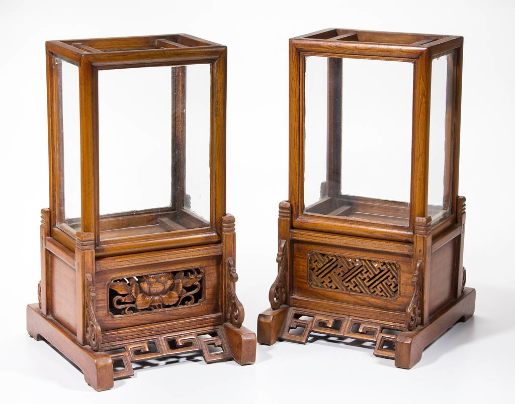PAIR OF CHINESE CARVED HARDWOOD LANTERNS AND STANDS