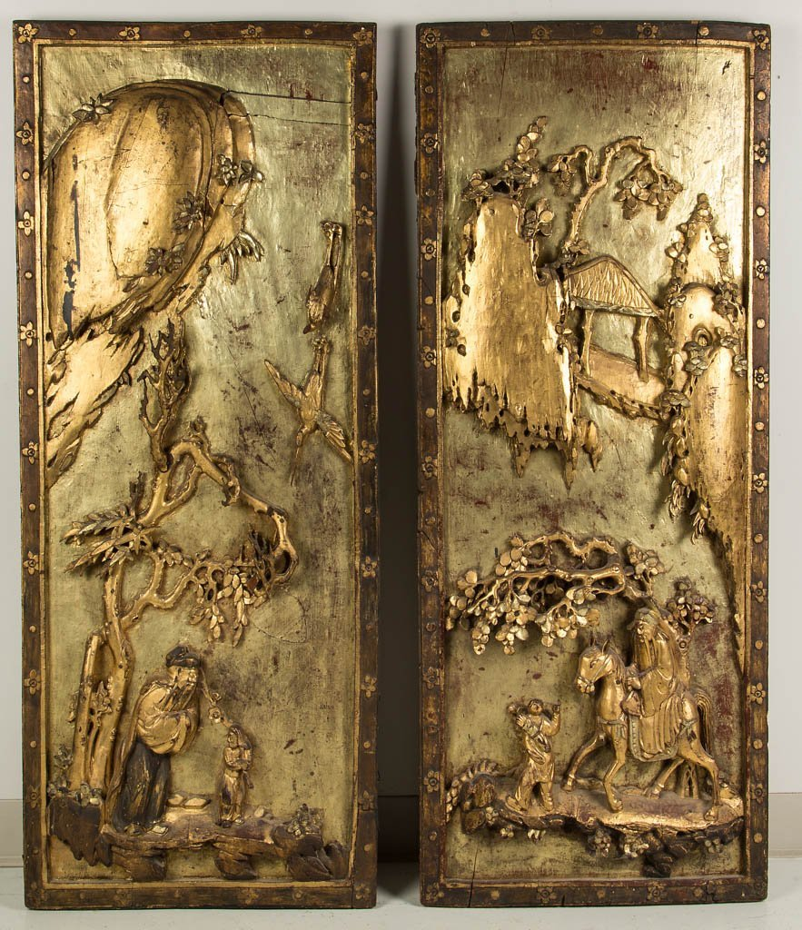 CHINESE CARVED WOOD ARCHITECTURAL PANELS, PAIR