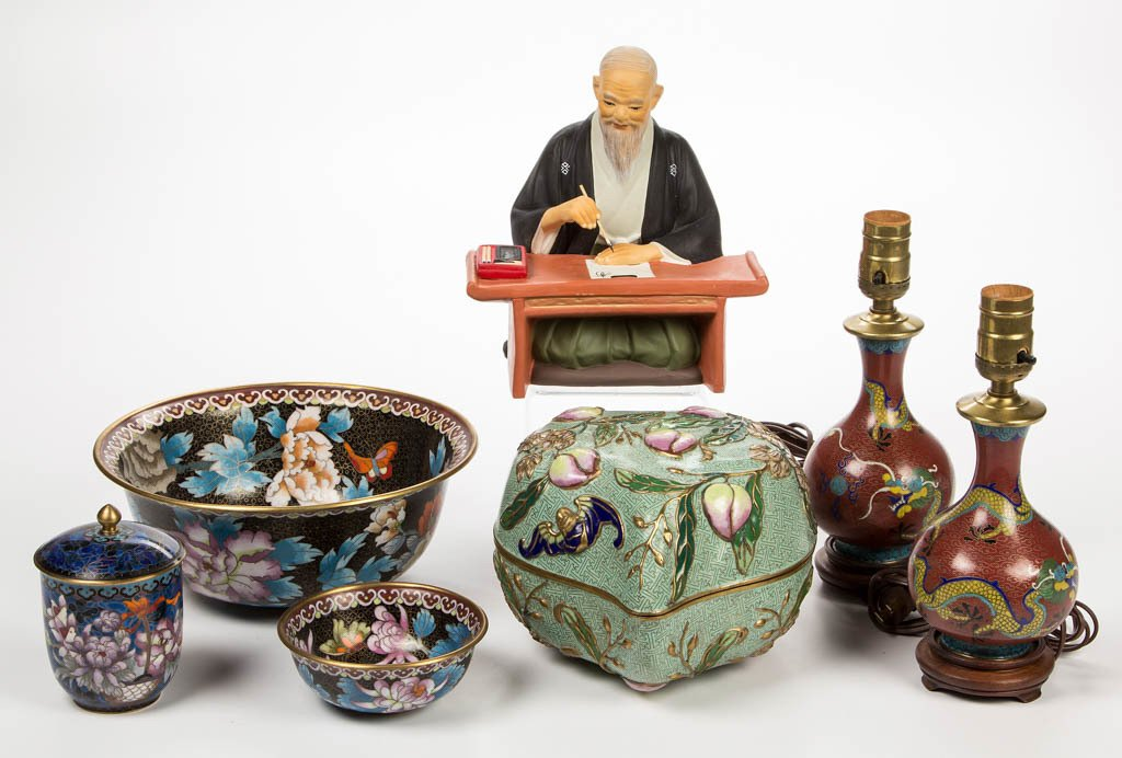 CHINESE CLOISONNE ARTICLES, LOT OF SIX