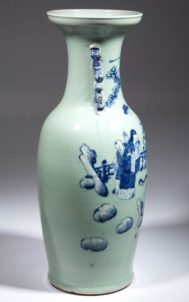CHINESE EXPORT CELADON PORCELAIN FLOOR VASE - 4