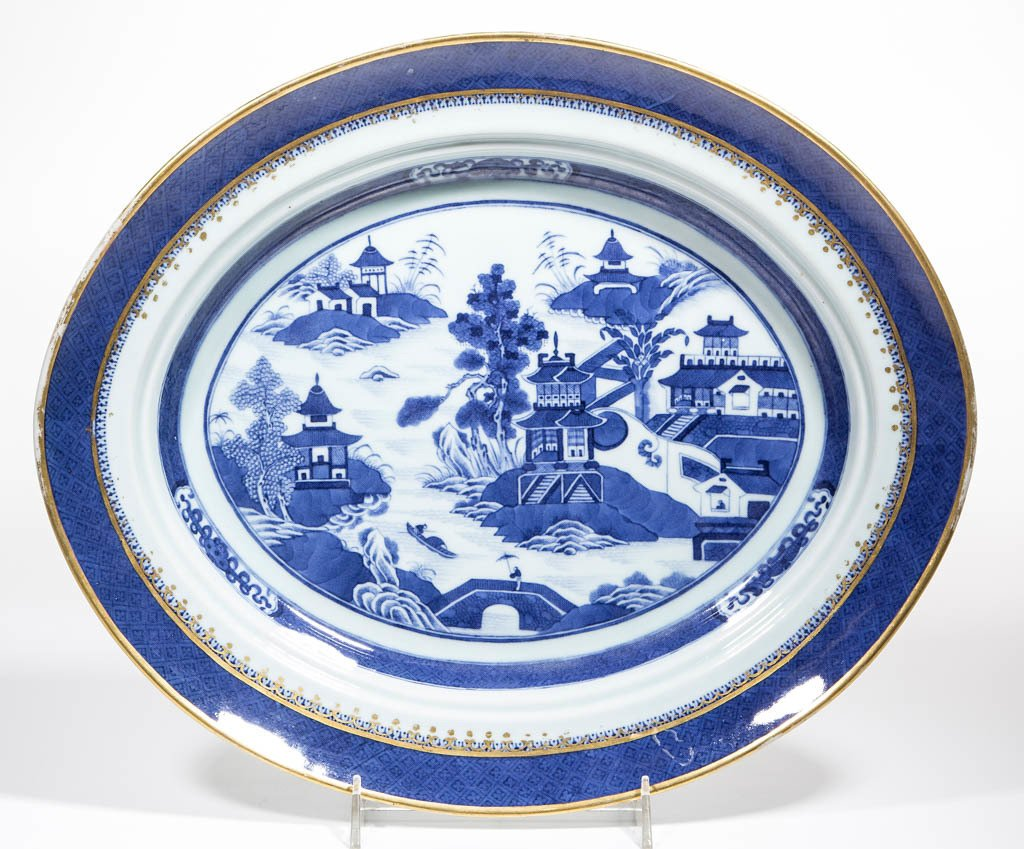 CHINESE NANKING BLUE AND WHITE PORCELAIN PLATTER