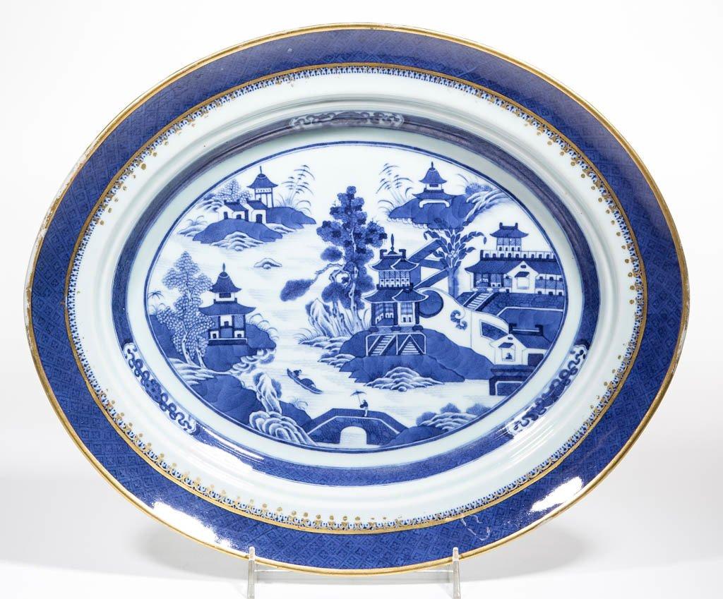 CHINESE NANKING BLUE AND WHITE PORCELAIN PLATTER