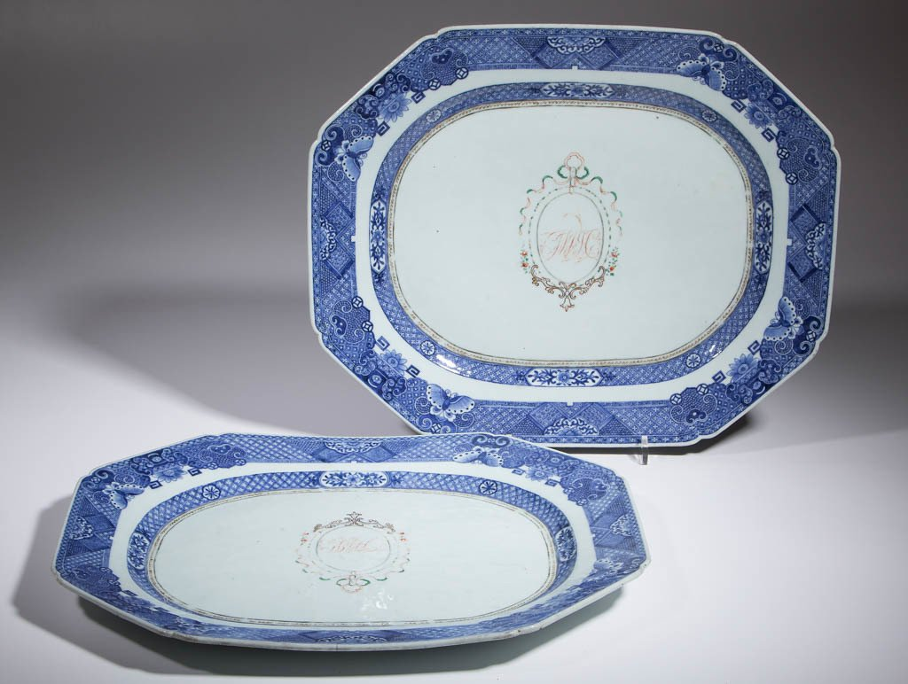 CHINESE EXPORT FITZHUGH PORCELAIN PLATTERS, LOT OF TWO