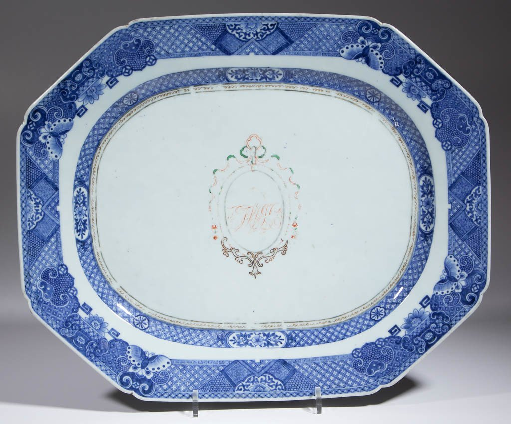 CHINESE EXPORT FITZHUGH PORCELAIN PLATTERS, LOT OF TWO - 4