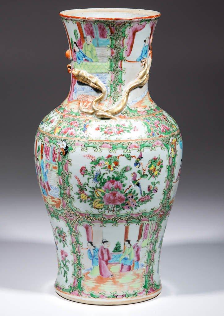 CHINESE FAMILLE ROSE / ROSE MEDALLION PORCELAIN LAMP - 2