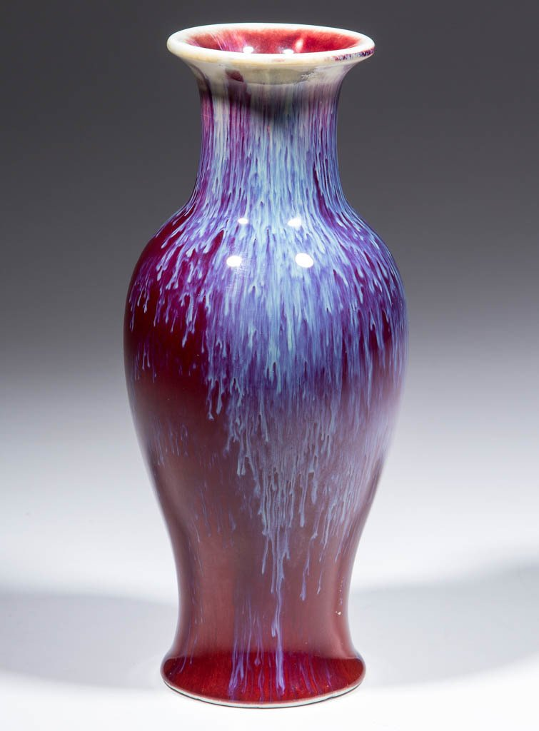 CHINESE OXBLOOD FLAMBE PORCELAIN VASE