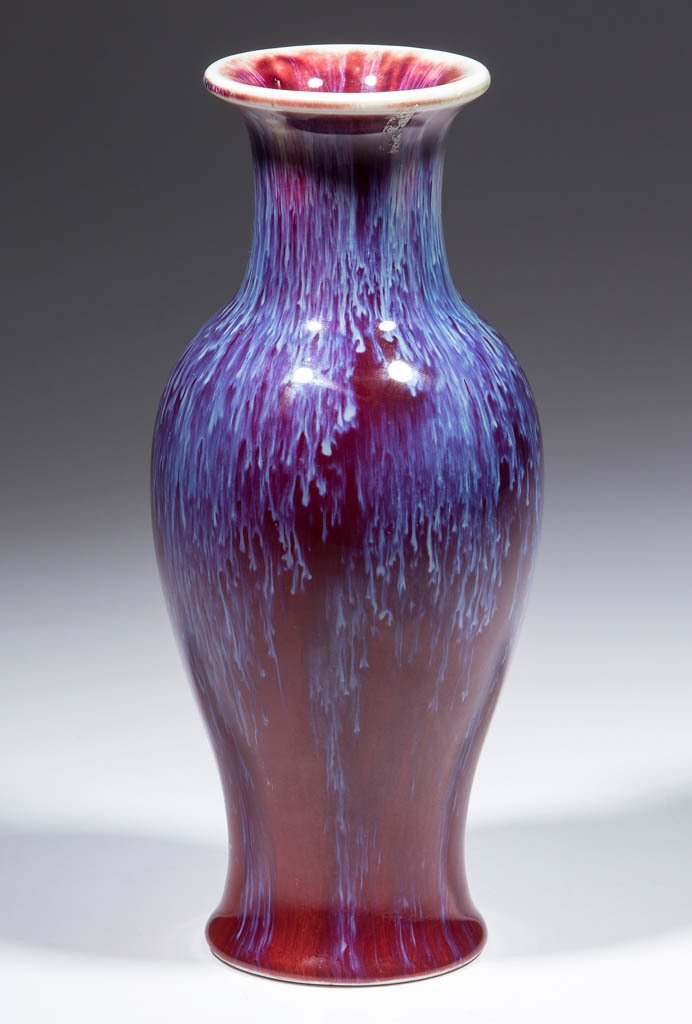 CHINESE OXBLOOD FLAMBE PORCELAIN VASE - 2