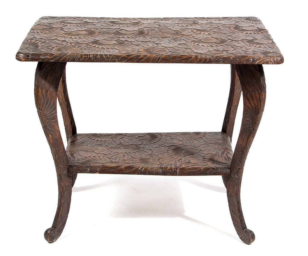 ARTS AND CRAFTS CARVED HARDWOOD SIDE TABLE
