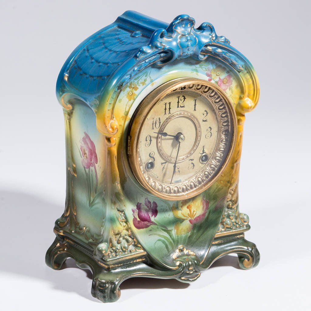 GERMAN ROYAL BONN CERAMIC MANTLE CLOCK