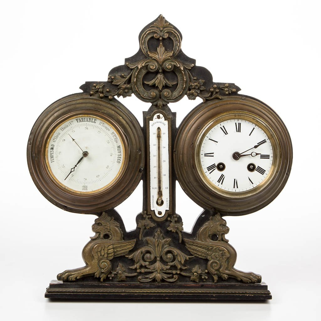 FRENCH EBONIZED WOOD AND BRASS CLOCK, BAROMETER, AND