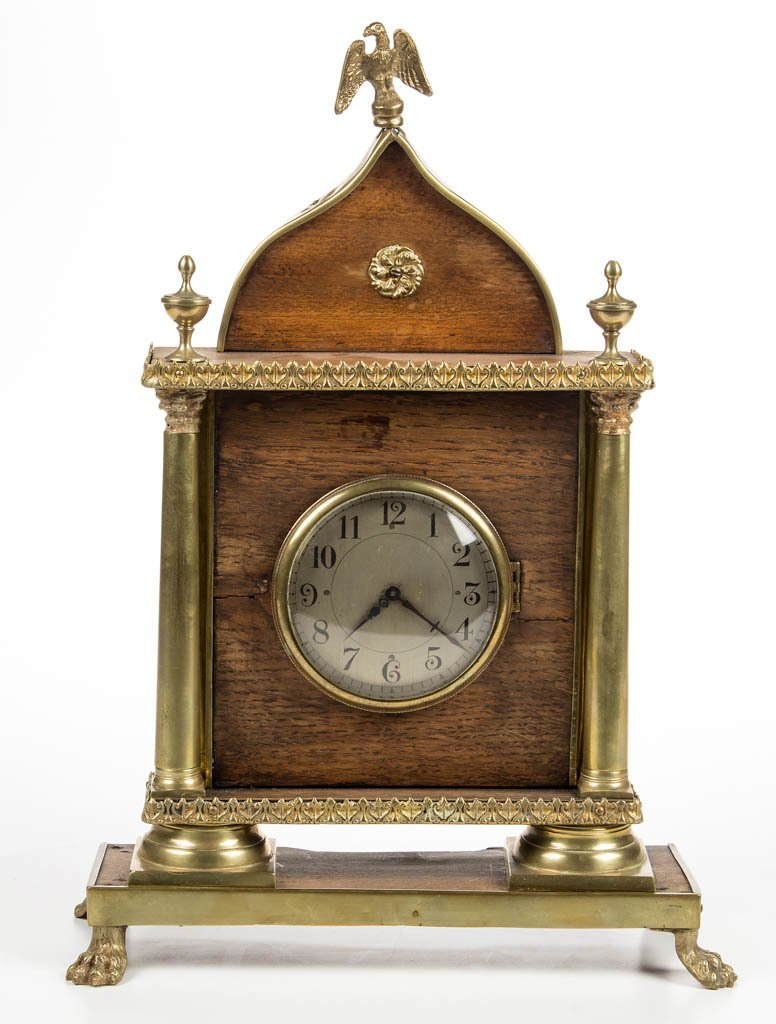 CONTINENTAL CLASSICAL BRASS AND WOOD SHELF CLOCK
