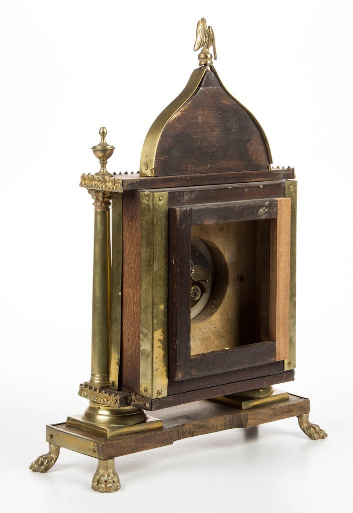 CONTINENTAL CLASSICAL BRASS AND WOOD SHELF CLOCK - 2