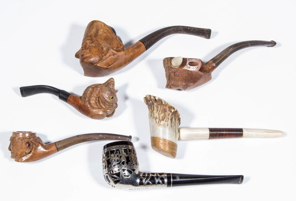 ASSORTED CARVED FIGURAL SMOKING PIPES, LOT OF FOUR
