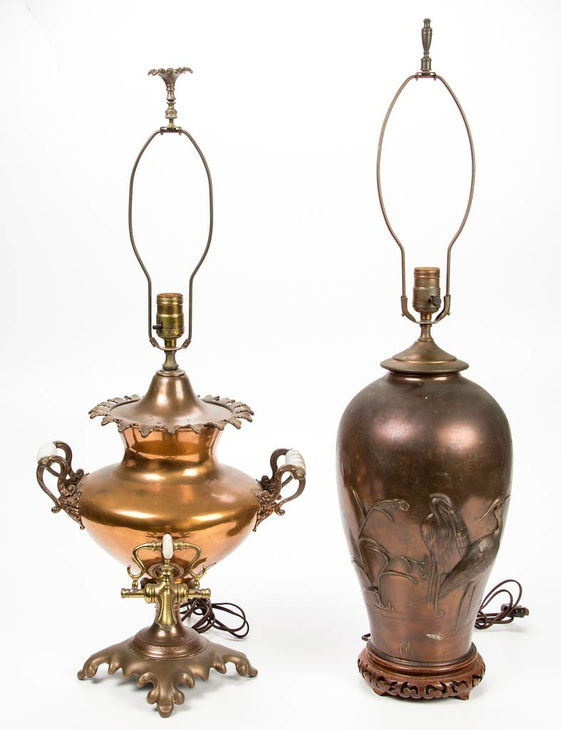 ASSORTED COPPER TABLE LAMPS, LOT OF TWO