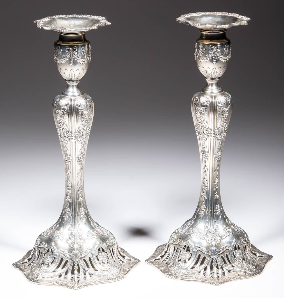 AMERICAN STERLING SILVER WEIGHTED CANDLESTICKS, PAIR