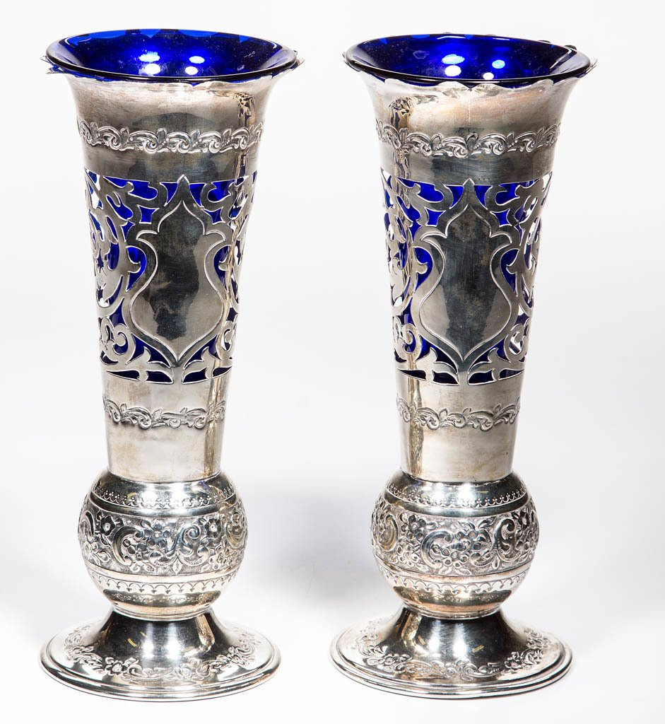 PAIR OF ENGLISH STERLING SILVER REPOUSSE VASES WITH