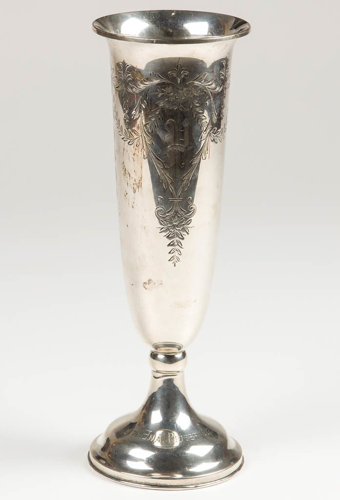 JUDAICA STERLING SILVER WEIGHTED COMMEMORATIVE VASE