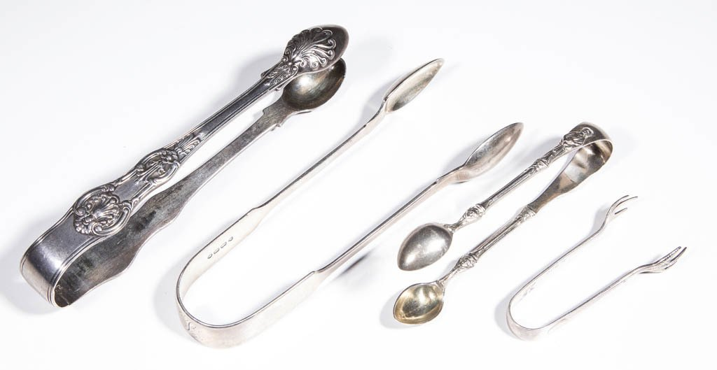 ENGLISH STERLING SILVER SUGAR TONGS, LOT OF FOUR