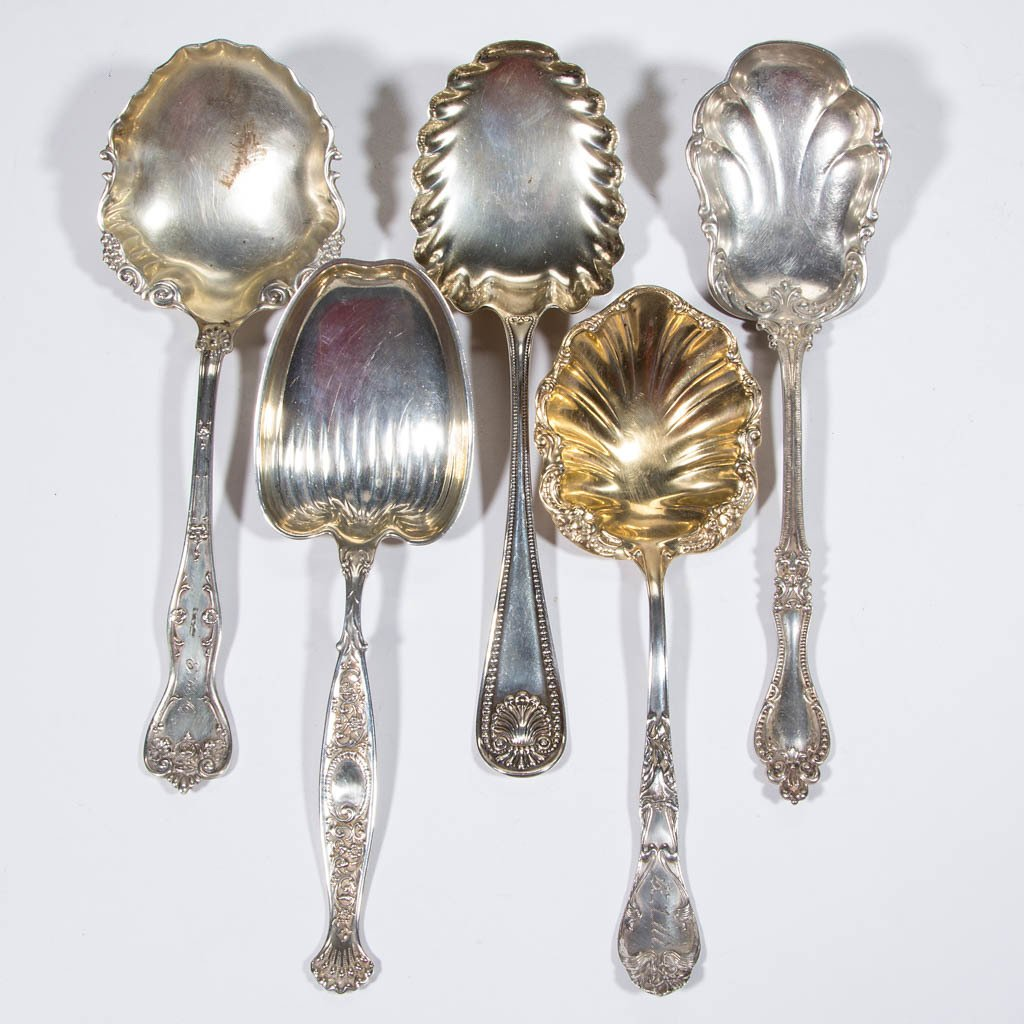 AMERICAN STERLING SILVER SERVING SPOONS, LOT OF FIVE